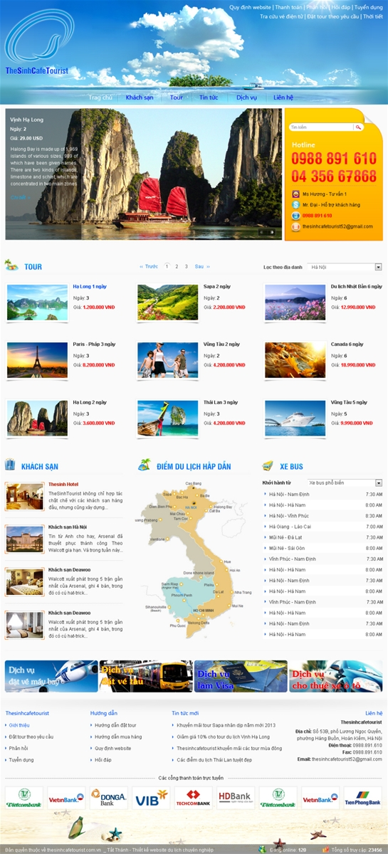 Thiết Kế Website Du Lịch - Mẫu 44 - Thesinhcafetourist.com.vn 2