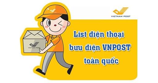 List điện thoại Bưu điện VNPOST trên toàn quốc